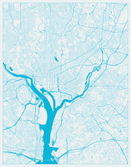 Washington DC, District of Columbia, US City Map in Blue colors. Outline Map..