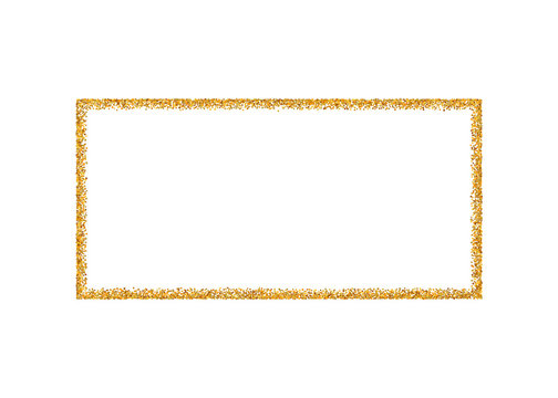 Gold frame isolated on white background. Golden glitter confetti texture. Gold square border, shine spray. Light dust decoration. Bright design for Christmas, holiday celebration. Vector illustration
