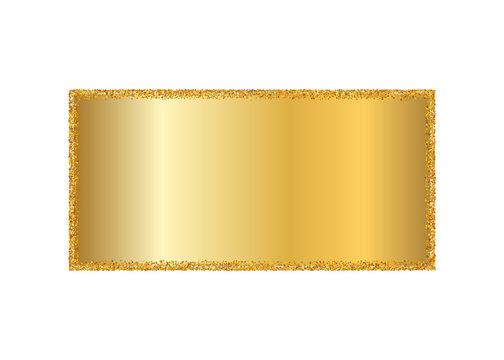 Gold frame isolated white background. Golden glitter confetti texture. Gold square border, shiny gradient. Light dust decoration. Bright design Christmas, holiday celebration. Vector illustration