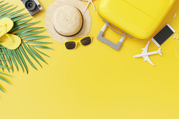 Flat lay yellow suitcase with traveler accessories and tropical palm leaves on yellow background. travel concept. 3d rendering Wall mural