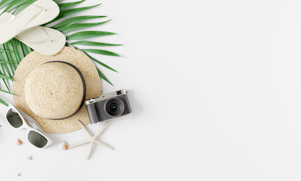 Flat lay traveler accessories on white bright background. Travel summer concept. 3d rendering