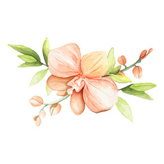 Watercolor composition of magical flowers and buds. Tropical plants. Ideal for cards, invitations, posters and cards.