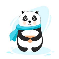 Keuken foto achterwand Retro sign panda in a warm scarf with hot tea