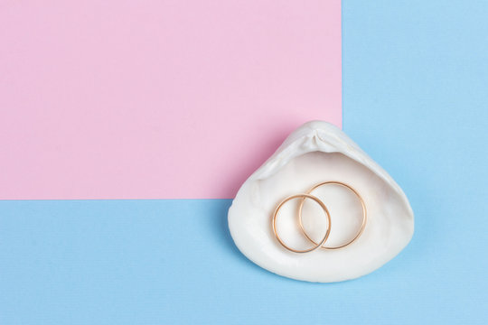 wedding rings in white seashell on pastel blue pink background, minimalistic design, top view flat lay