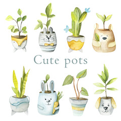 Watercolor set of cute pots with plants. Hand drawn  pots with animals. Perfect for kids products, textile, posters.