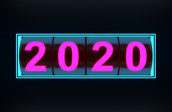 New Year 2020 with casino concept - 3D Rendered Image