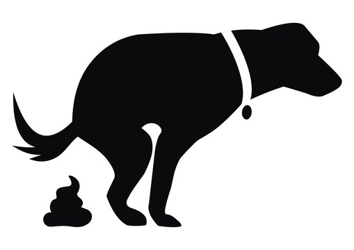 Dog and excrement, black silhouette, vector illustration