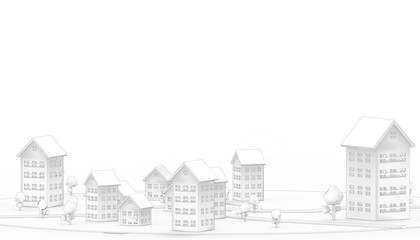 Housing Symbol and Community property business Concept Modern and contemporary on Black and White  Background  - 3d rendering
