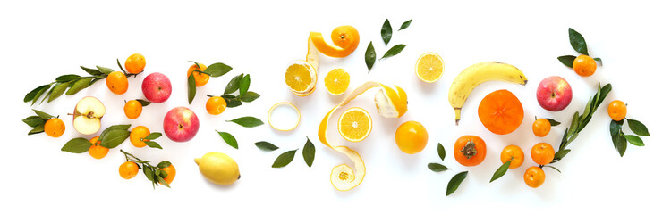 Fototapete - Creative composition of fruits isolated on white background, top view, flat layout.