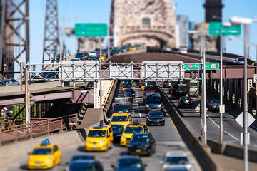 New York City - Busy view of the Queensboro Bridge in Manhattan with rush hour traffic traveling to Brooklyn