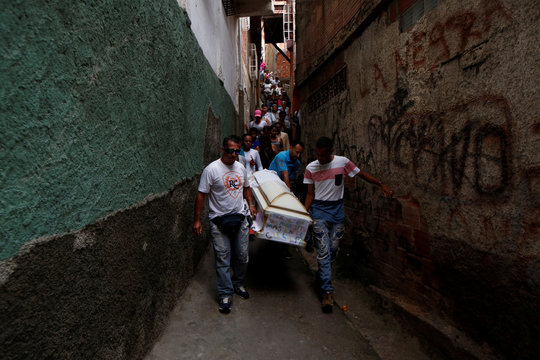 Relatives carry a coffin containing the body of Erick Altuve, a 11-year-old boy who died from respiratory problems while in care for stomach cancer at the public Jose Manuel de los Rios hospital, at Petare neighborhood in Caracas
