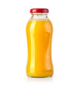orange juice bottle on white background