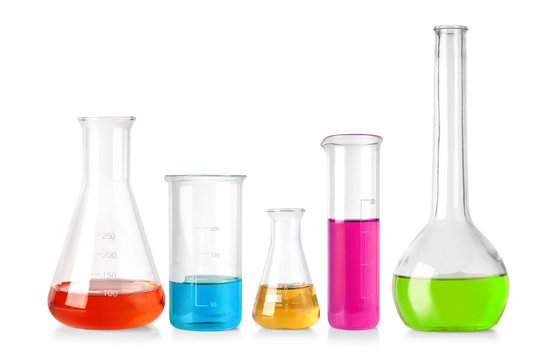 Flasks with colour liquid isolated