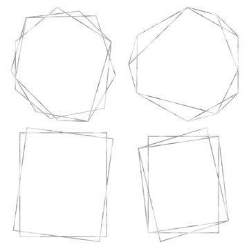 Geometric Polygonal Frames - Set of 4 trendy frames with copy space