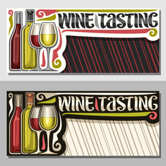 Vector invitation for Wine Tasting with copy space, illustration of french wine bottles and half full shiny wineglasses, decorative lettering for words wine tasting on red and white striped background