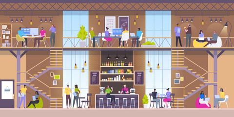 Modern workplace interior. Cafe in loft style. People in creative office co-working center