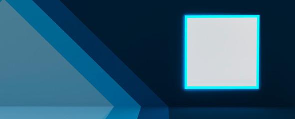 Render de pasillo y cartelera de anuncio con marco de luz neón. Fondo de estudio y valla publicitaria abstracto, materiales modernos texturas y combinaciones de colores.