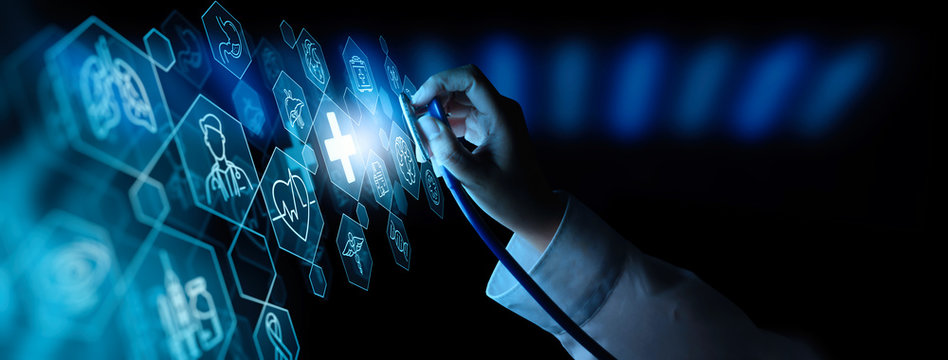 Doctor hand with stethoscope and Ui icon medical in hospital with medical technology network concept.
