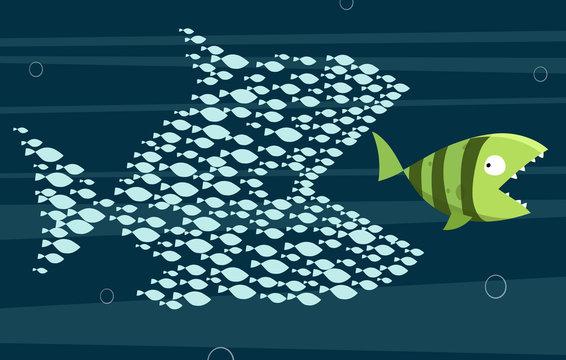 Unity of small fish eat big fish: Teamwork concept