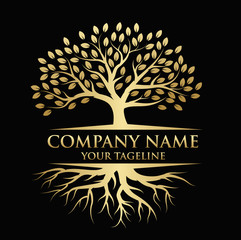 Tree and roots logo illustration. Tree of life logo design inspiration. In gold color