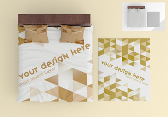 Bed Sheet and Pillow Set Mockup