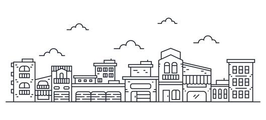 Vector Illustration : Thin line City landscape
