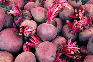 Fresh young beets at farmers market