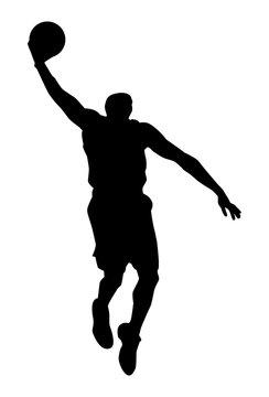 Silhouette noire de basketteur exécutant un smash sur fond blanc