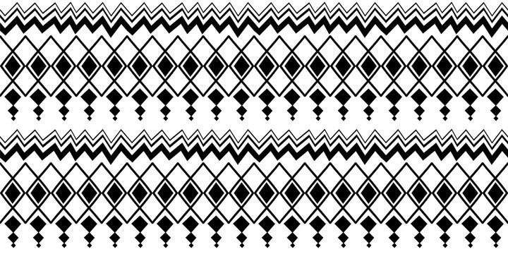 Ethnic pattern with seamless symbol elements hand drawn cultural background abstract trendy aztec african maya ancient in black and white