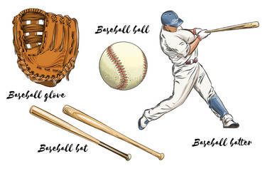 Set of baseball in color. Isolated on white background. Hand-drawn elements such as baseball player, glove, bat and ball. Vector illustration