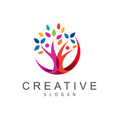 tree logo, greening symbol + social logo with association and greening of life