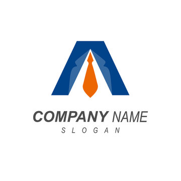 logo letter a, letter logo a by symbolizing office employees + initial name icon, tie symbol