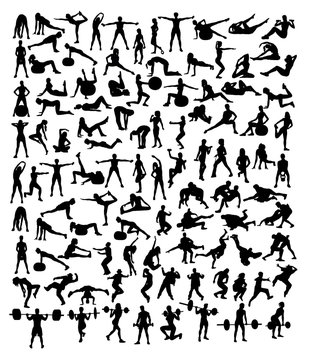 Fitness and Gym Sport Silhouettes, art vector design