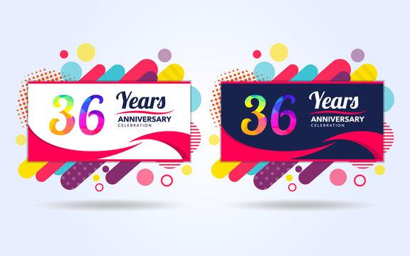 36 years pop anniversary modern design elements, colorful edition, celebration template design, pop celebration template design, white and black background