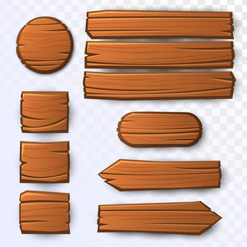Vector wooden guidepost, round, square, rectangle and oval panels on transparent background. Two wooden arrows