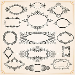 Decorative rounded circle and oval frames and borders set