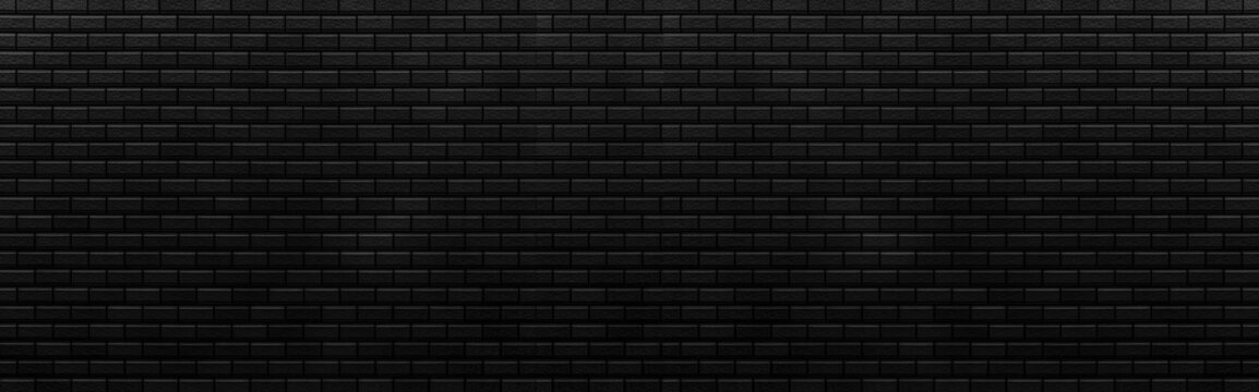 Panorama of Black brick stone wall seamless background and texture