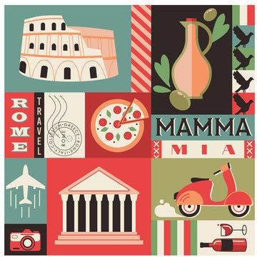 Italy pattern geometric illustration isolated on background