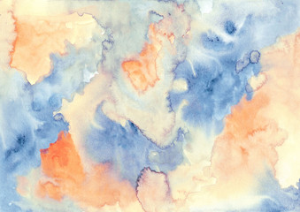 orange blue abstract watercolor texture background