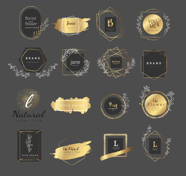 Premium floral logo templates for wedding,luxury  logo,banner,badge,printing,product,package.vector illustration