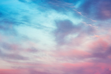 Photo sur Toile Morning Glory Marshmallow pink dawn on the sky, background, horizontal. Space for text.
