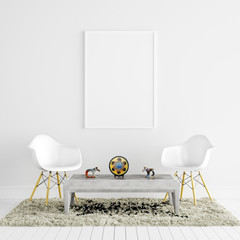 Mock Up Poster Frame in White Living Room with Chairs and Decoration