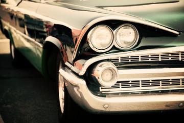 Fotomurales - Old american car headlights close-up