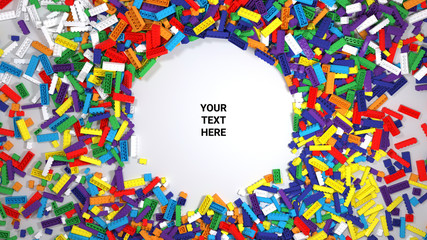 Colored toy bricks with place for your content. Text space. 3D illustration. 3D rendering