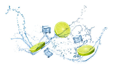 Poster Dans la glace Slices of juicy lime, ice cubes and splashing cold water on white background