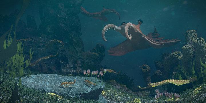 animals of the Cambrian period, underwater scene with Anomalocaris, Opabinia, Hallucigenia, Pirania and Dinomischus