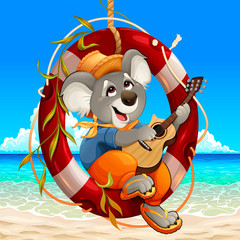 Papiers peints Chambre d enfant Koala is playing the guitar on the beach
