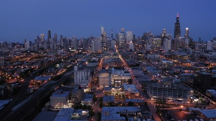 Fototapete - Chicago downtown skyline aerial evening sunset night
