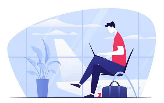 Vector illustration of a young man with laptop sitting in the departure lounge at the airport