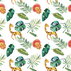 Aluminium Prints Parrot Hand-drawn watercolor seamless pattern. Green tropical leaves and wild animals on white background